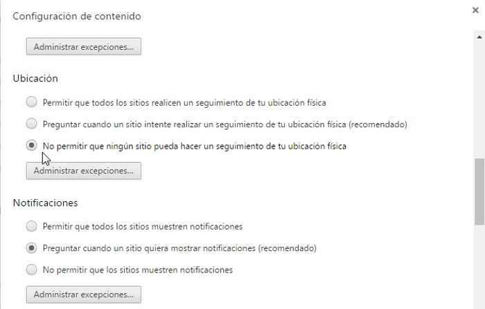 desactivar ubicación en Chrome