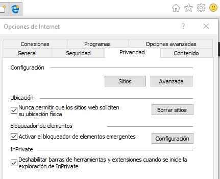 desactivar ubicación en Internet Explorer