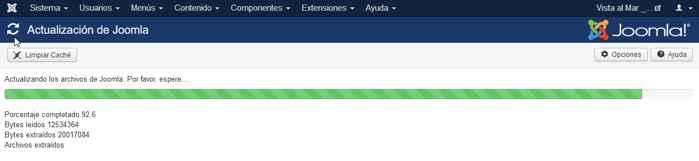 progreso de la actualización a Joomla 3.7.0