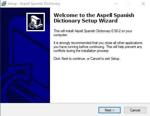 instalar Aspell diccionario español
