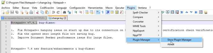 Plugins Manager de Notepad ++