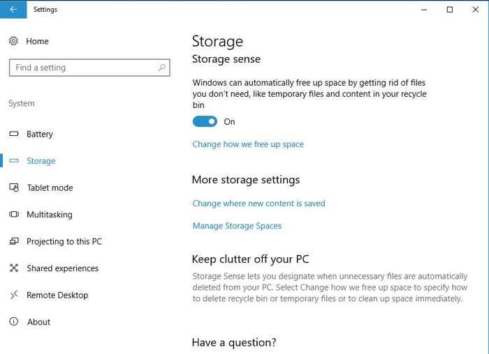 habilitar Storage Sense en Windows 10