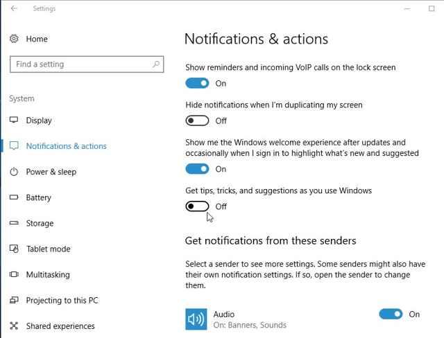 notificaciones de Windows