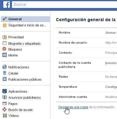 Facebook, Configuración General descargar datos