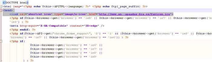 código HTML parfa el favicon