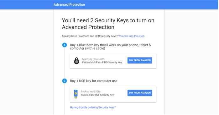 protección avanzada de Google con USB o Bluetooth