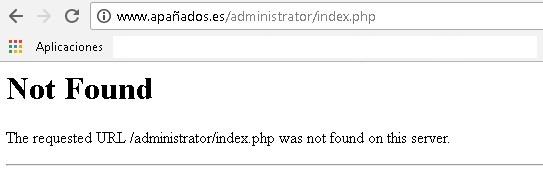 error 404 para el administrator de Joomla