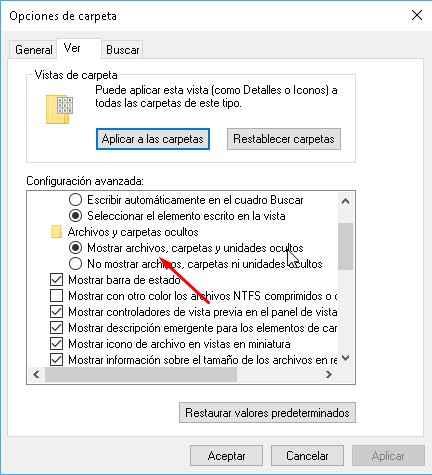 mostrar archivos ocultos de Windows