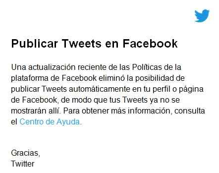 email de Twitter sobre Facebook
