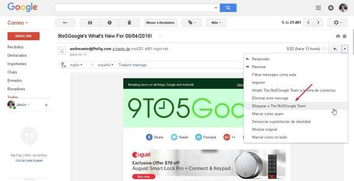 bloquear correo electrónico de Gmail Web
