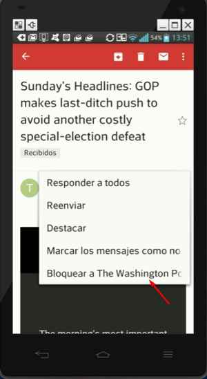 bloquear cuenta Gmail en Android
