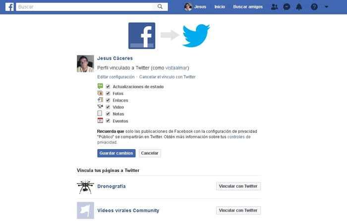 vincular Facebook a Twitter