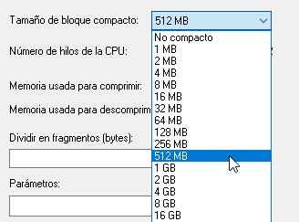 7zip dividir volumen 512 MB