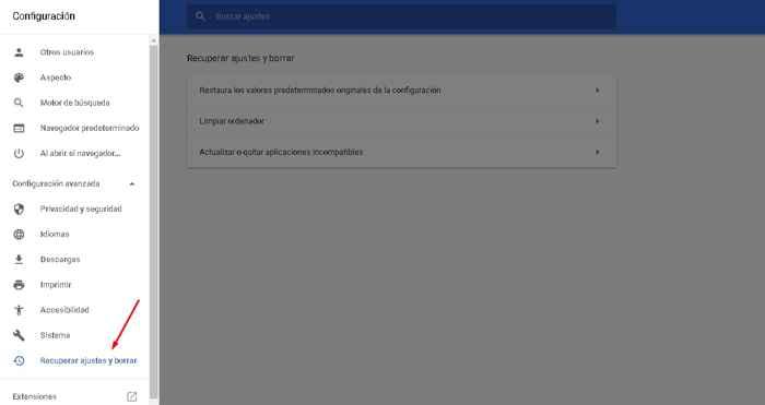 Chrome recuperar ajustes