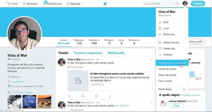 Twitter, configuración de privacidad en el PC