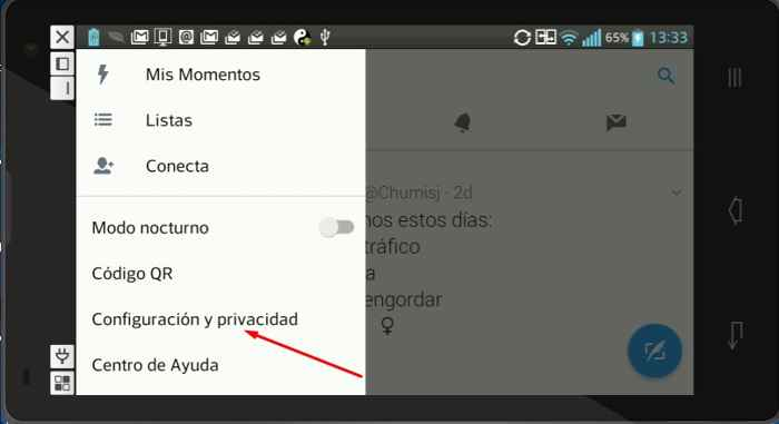 Twitter, configuración de privacidad en móvil