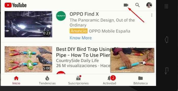 Youtube elegir Cámara