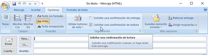 confirmación de lectura en Outlook