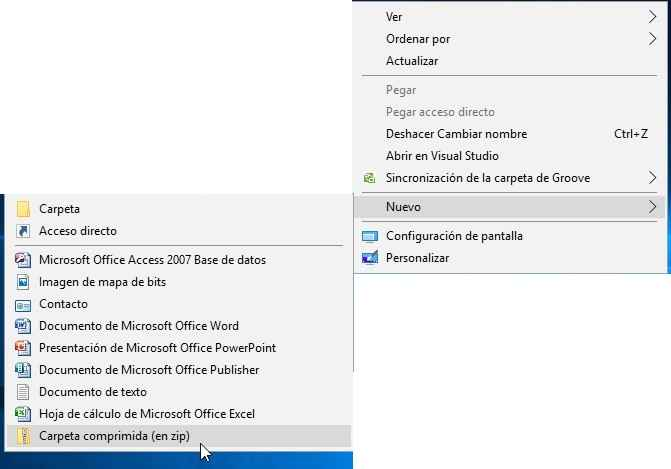 crear carpeta zip en Windows