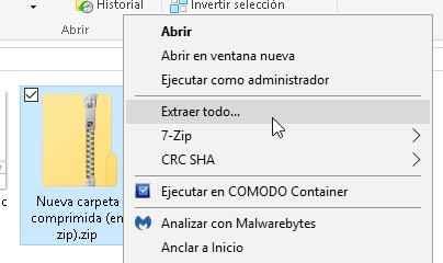 extraer archivo zip