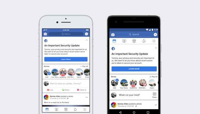 notificación de Facebook a los usuarios