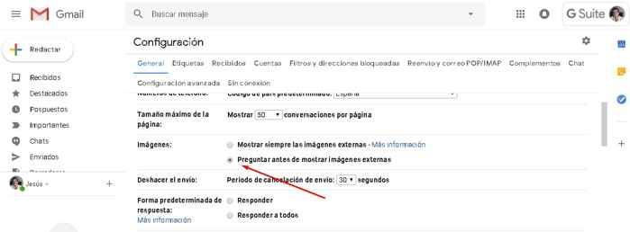 preguntar descargar imágenes en Gmail