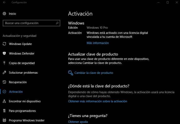 activación de producto de Windows 10