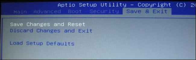 descartar los cambios en la BIOS