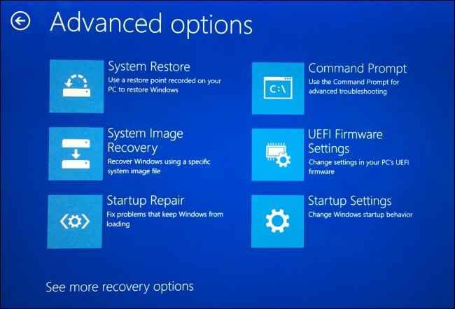 opciones avanzadas de reinicio en Windows 10