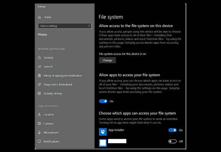 sistema de archivos de Windows 10