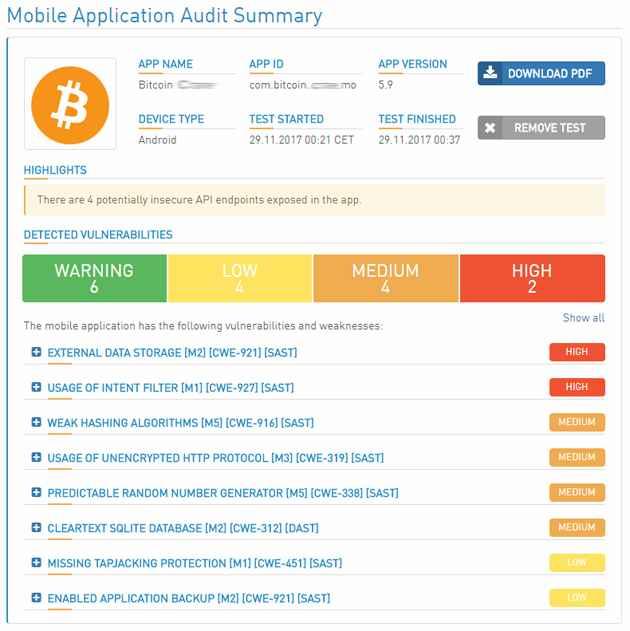 auditoria de app móviles de criptomonedas