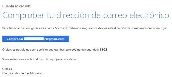 confirmación a Microsoft de nueva cuenta