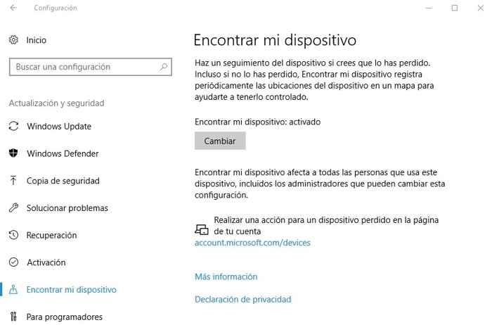 encontrar dispositivo con Windows 10