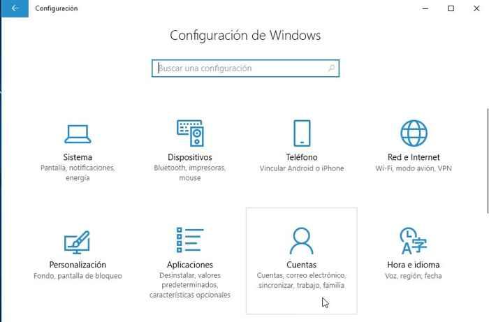 Windows 10 Cuentas