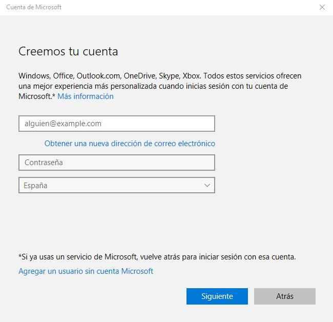 Windows 10, agregar persona con nueva cuenta