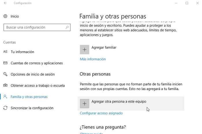 Windows 10, agregar persona a la cuenta