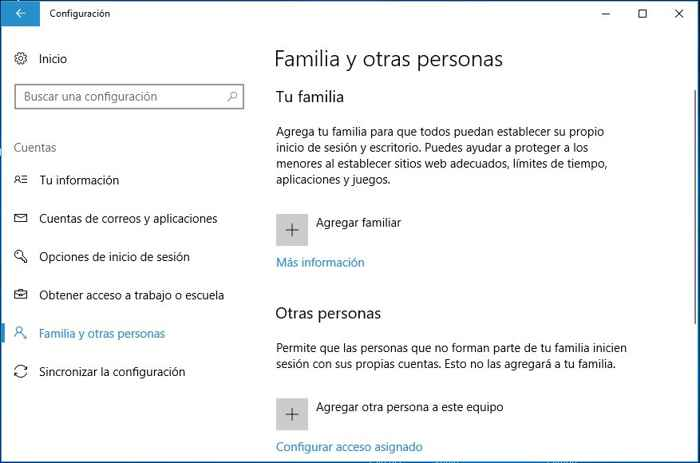 Windows 10 Familia