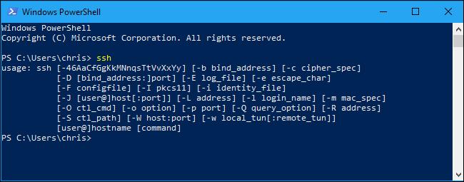 comando ssh  en PowerShell