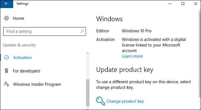 actualización clave de producto Windows 10