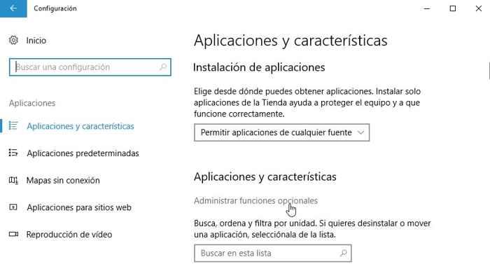 administrar funciones opcionales en Windows 10