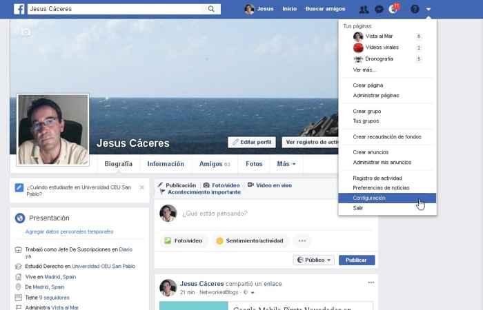 Facebook, Configuración