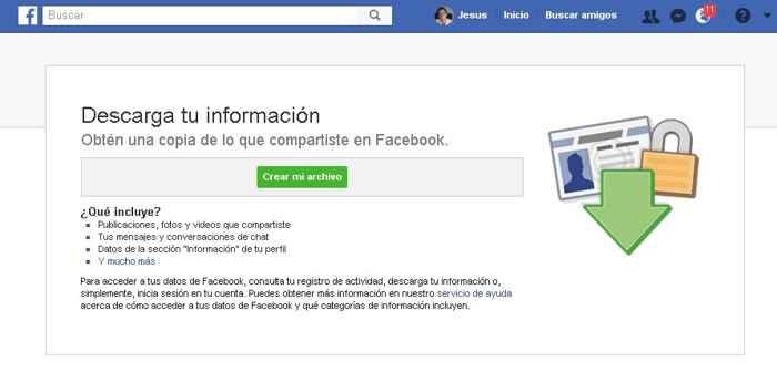 Facebook, crear archivo de tus datos