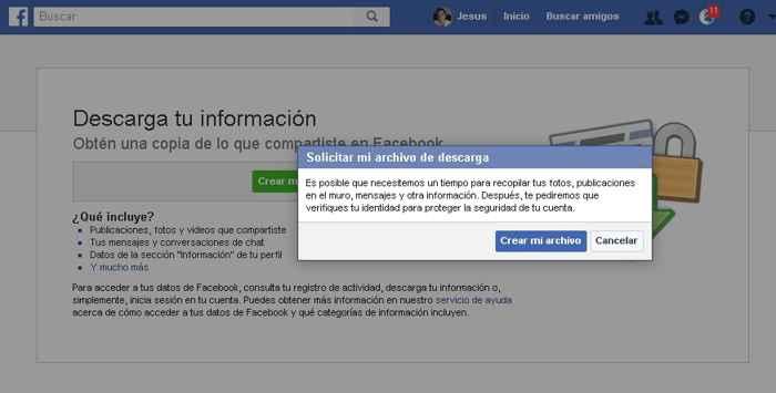 Facebook, crear archivo de mis datos