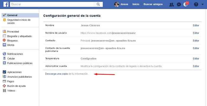 Facebook, descargar información