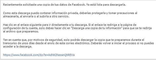 Facebook, email de datos