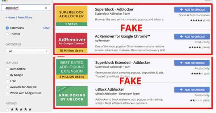 bloqueadores de anuncios falsos