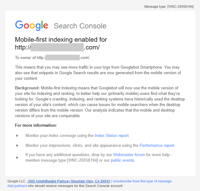 email mobile indexing enabled
