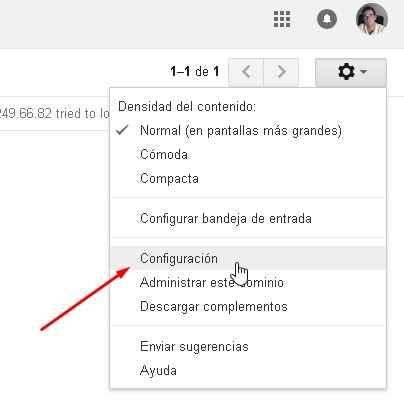 Gmail configuración menú