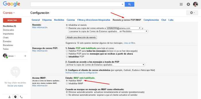 Gmail correo POP Imap
