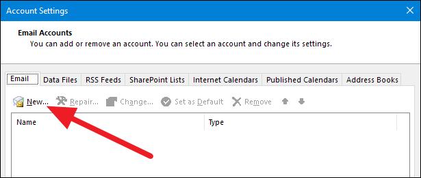 Outlook configuración cuenta nuevo